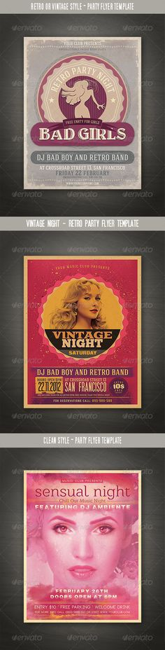 Retro Night Flyer Color text, Print templates and Psd templates - retro flyer templates