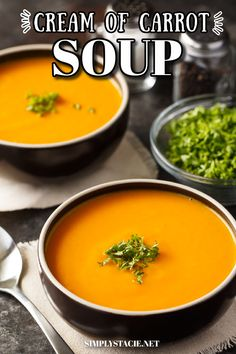 Cream of Carrot Soup - This easy soup recipe is not only healthy, but also so delicious! Carrots are cooked to perfection and blended with potatoes, onion, chicken broth and milk to make it velvety smooth. Chowder Recipes, Chili Recipes, Soup Recipes, Cooking Recipes, Potato Recipes, Cream Of Celery Soup, Pureed Soup, Cooked Carrots, Carrot Soup
