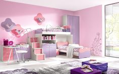 Łóżko dziewczęce    #fototapetydladziewczynki #fototapetydladzieci #DecoArt24