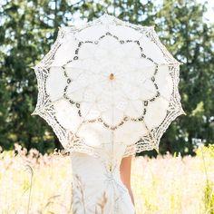Antiqued Battenburg Lace Parasol  - Shop on WeddingWire! Wedding Styles, Wedding Photos, Lace Parasol, Wedding Parasol, Pergola, Sun Umbrella, Parasols, Romantic Lace, Antique Lace