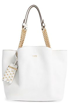 Tod's 'Small Flower' Leather Shopper with Chain Handles available at #Nordstrom
