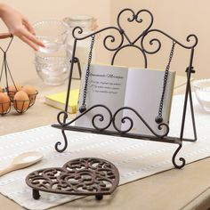 An ideal gift for the keen baker or home cook, this standing vintage style kitchen recipe book stand is a great way to hold your recipe books while home cooking and baking. Cook Book Stand, Book Stands, Vegetable Rack, Keep Recipe, Recipe Holder, Best Cookbooks, Baking Set, Food Displays, Wooden Gifts