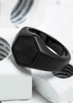 """This signet ring owes its design to """"nature's perfect shape"""" — the hexagon. Common in natural geometric structures such as beehives, snowflakes and turtle shells, the hexagon is one of nature's strong"""