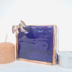 Glass Tea Light Holder Purple and Copper OOAK by Nostalgianmore, $25.00