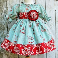 "Girls Holiday Winter Berry Peasant Dress in ""Noel"" girls peasant dress"