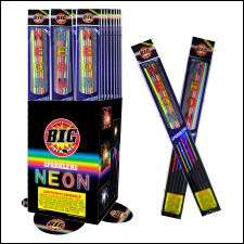 18 Inch Neon Sparklers. burn 1 1/2 min 40ct = $20. each sleeve (5 pack) has 1 each of: blue, white, green, yellow, red.