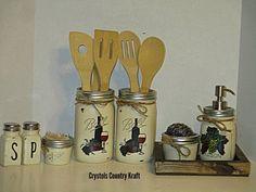Mason Jar Art, Mason Jar Bathroom, Ball Mason Jars, Bathroom Sets, Pig Kitchen, Chicken Kitchen, Rustic Kitchen, Country Kitchen, Kitchen Decor Themes
