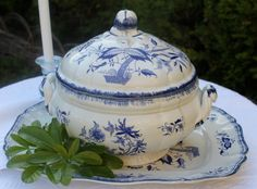 "Vintage French ""Sarreguemines"" Soup Tureen and Tray Blue and White pattern Lancaster on Etsy, $75.00"