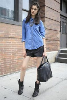 leather shorts + denim shirt