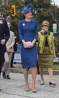 <h2>Day One</h2><br>The Duchess of Cambridge arrived in Canada wearing one of her favourite designers - Jenny Packham. Kate paired her royal blue dress with a matching maple leaf-adorned Lock & Co hat, tanzanite earrings, nude Gianvito Rossi pumps, LK Bennett clutch and the Queen's stunning diamond maple leaf brooch. <p>Photo: © Canadian Heritage
