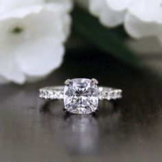 2.7CTW Cushion Cut Simulated Diamond 925 Sterling Silver with Gold Wedding Engagement Ring     FREE Shipping Worldwide     http://fashjewels.de/ring-for-women-2-7-ctw-cushion-cut-simulated-diamond-s925-sterling-silver-with-gold-engagement-wedding-rings-art-dec-bague/