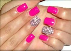 Bright pink accent nail gems. Gel.