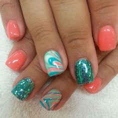 Pretty coral and turquoise uñas semipermanentes, uñas perfectas, uñas escul Fingernail Designs, Cute Nail Designs, Coral Nail Designs, Coral Nail Art, Turquoise Toe Nails, Coral Nails With Design, Bright Coral Nails, Blue Nail, Nail Art Designs