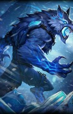The blue wolf is always stood for good Fantasy Monster, Monster Art, Mythical Creatures Art, Magical Creatures, Dark Fantasy Art, Wolf Warriors, Wolf Artwork, Werewolf Art, Fantasy Beasts