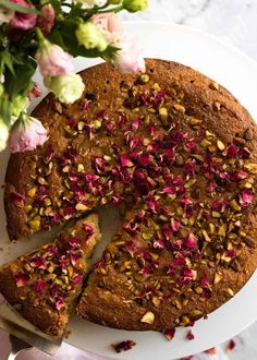 A beautiful Persian Love Cake that happens to be gluten free, made with semolina and almond meal. The best part is pouring the syrup over the cake so it soaks all the way through! Almond Recipes, Baking Recipes, Cake Recipes, Dessert Recipes, Love Cake Recipe, Recipe Box, Saffron Cake, Semolina Cake, Flourless Cake