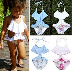Summer Sling One-piece Quick-drying Baby Girls Swimwear Cute Ice Cream Dot Swim Beach Bathing Kids Toddler Children Swimsuit Swimwear