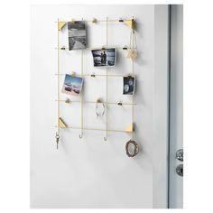 IKEA - MYRHEDEN, Memo board with clips, brass-colour, 12 clips are included and possible to hang keys and other small things on the hooks. Bathroom Hooks, Bathroom Medicine Cabinet, Ikea Shopping, Memo Boards, Wall Decor, Room Decor, Brass Color, Ikea Hack, Windows