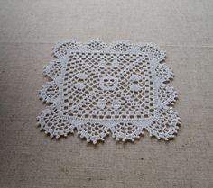 NEW; Small lovely crochet square doily; Crochet tablecloth; Crochet doily; VerLen crochet; FREE SHIPPING