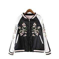 Two-In-One Reversible Floral Embroidery Bomber Jacket -- Read more reviews of the product by visiting the link on the image. (This is an affiliate link)