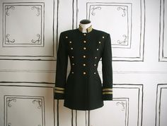 80s black wool military jacket  m by lovestaygold on Etsy