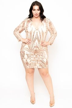 54b35997202 Plus Size Lillet Rose Sequin Mesh Dress - Rose Gold