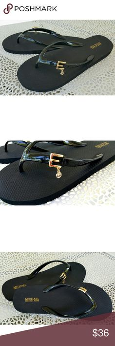 NWOB, Michael Kors Black Gold Charm Flip Flops Sporty yet classy Michael Kors black flip flops boasts an adorable mock gold belt with attached MK charm for added class. I do not have a box for these. MICHAEL Michael Kors Shoes Sandals