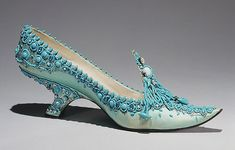 roger vivier 1961 evening shoe, metropolitan museum of art aqua silk satin, aqua and blue beads, rhinestones, metallic thread, leather