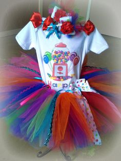 Candyland Party Tutu  Candyland tutu setRainbow tutu setBirthday Party by GlitterMeBaby, $55.00