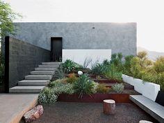 concrete + brick + levels + plants