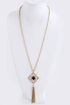 Ultra Long Diamond Fringe Pendant Necklace - Mint or Black