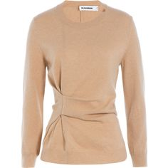 Jil Sander Cashmere Pullover ($580) ❤ liked on Polyvore featuring tops, sweaters, camel, beige top, drape front top, drape sweater, slim fit sweater and jil sander sweater