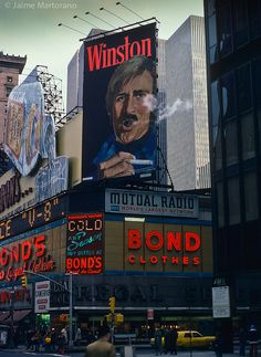 Winston Puffs on Times Square (Jaime Martorano) Tags: nyc newyork advertising neon timessquare billboards 1972 winston bondclothes gordonsgin Vintage Cigarette Ads, New York Life, Vintage New York, City That Never Sleeps, City Photography, World Best Photos, City Lights, Old And New, Times Square
