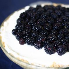 A cream cheese pie with layers of sweet blackberries -- the perfect summer dish, with no baking required!