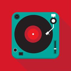 Flat record player illustration #illustration #flat #record #vinyl…