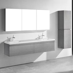 "Madeli Venasca 72"" Vanity Set Finish: Ash Gray"