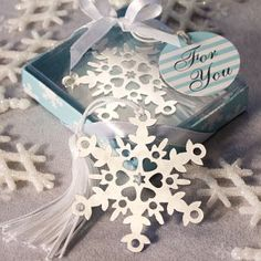 Set of 100 Snowflake Bookmarks for Winter Wedding $82.99 + ship
