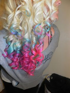 We are going to try to do this to Zoe's hair tonight - a compromise from full pink and blue I guess