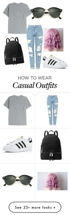 """casual"" by thatsokiana on Polyvore featuring T By Alexander Wang, Topshop, MICHAEL Michael Kors, adidas and Ray-Ban"