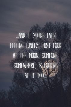 """...and if you're ever feeling lonely, just look at the moon.  Someone, somewhere, is looking at it too..."" #PicLab app"