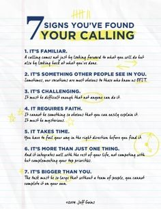 I get asked a lot about finding your purpose. Here's a great synopsis by Jeff Goins: 7 Signs you've found your calling