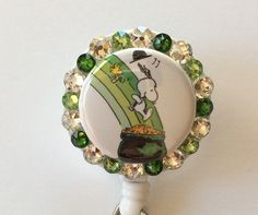 Snoopy and Woodstock St.Patrick's Day Badge Holder with Charms by Lindasbadgeboutique on Etsy