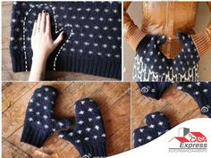 Si tienes un suéter que ya no usas, reutilízalo para hacer unos lindos y calientitos guantes.