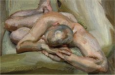 """Lucian Freud - Leigh on a Green Sofa - Oil on Canvas, 1933. MoMA says…""""Known for mountainous, fleshy portraits, like the painting of Leigh Bowery's backside at the Met, Lucian Freud (grandson of Sigmund) seemingly paints with a chisel, weighing down his figures with the feeling of ordinary objects."""
