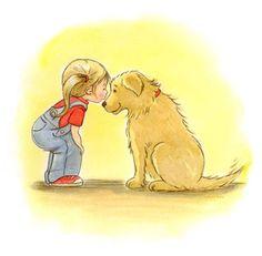 #Children's Wall Mural #Little girl and golden retriever First Love Mural - #Phyllis Harris #Murals Your Way