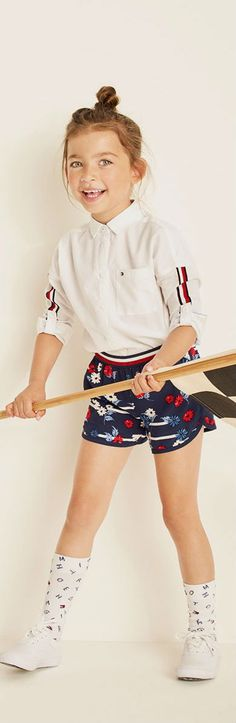 Tommy Hilfiger Kids Girls Red White Blue Shirt & Shorts for Spring Summer 2018. Adorable Streetwear Look for Girls. Inspired by the Tommy Hilfiger Women's Collection. #TOMMYHILFIGER #kidsfashion#boy#kids#cool#summer#style#fashion #girl