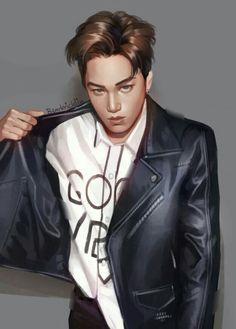 Cre: the owner/ as logo Kpop Fanart, Kai Arts, Kai Exo, Exo Fan Art, Art Station, Kim Jong In, Looking Stunning, Cute Boys, Hot Guys