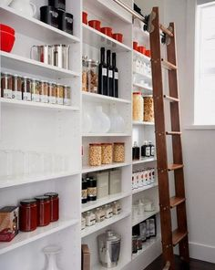 Reclaimed wood instead of ugly white. But a pantry wall with a library ladder!