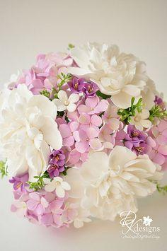Gumpaste Flower Bouquet by yvonne Sugar Paste Flowers, Icing Flowers, Fondant Flowers, Paper Flowers, Wedding Bouquets, Wedding Flowers, Bridesmaid Bouquet, Flower Spray, Polymer Clay Flowers