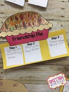 Friendship Pie - Great activity for after reading Enemy Pie in friendship unit/group! Friendship Crafts, Friendship Lessons, Teaching Friendship, Kindness Activities, Enemy Pie Activities, Preschool Friendship Activities, Bullying Activities, Teaching Kindness, Health Activities