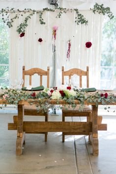 Tented wedding reception bride and groom table with greenery table runner Whimsical Wedding Theme, Floral Wedding, Green Wedding, Wedding Flowers, Tent Wedding, Wedding Groom, Wedding Table, Bride Groom Table, Grooms Table
